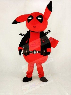 Red Deadpool Pikachu Mascot Costume Cartoon