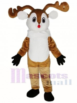 Red Nose Deer Mascot Costume Adult Deer Costume