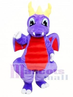 Purple Dragon Mascot Costume for Adults