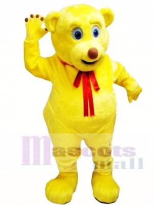 Yellow Cut Teddy Bear Mascot Costume