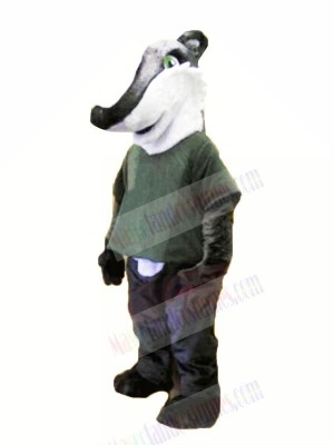 Gray Shirt Badger Mascot Costume Animal