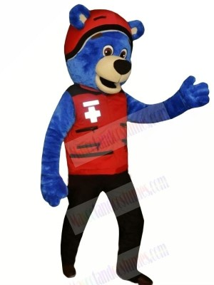 Blue Bear with Red Hat Mascot Costumes Animal