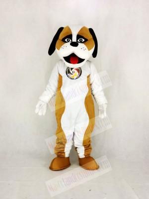 Brown And White St. Bernard Dog Mascot Costume Cartoon