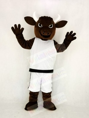 Brown Sport Power Bull with White Suit Mascot Costume College