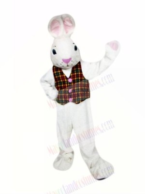 White Easter Bunny with Vest Mascot Costumes Cartoon