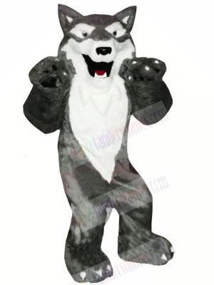 Grey and White Wolf Mascot Costumes Cartoon