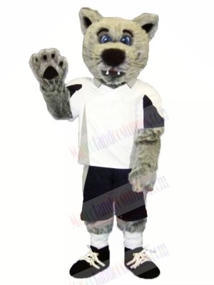 Grey Coyote Wolf with White T-shirt Mascot Costumes Cartoon