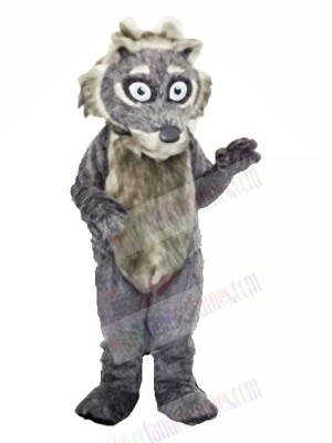 Grey Fluffy Wolf Mascot Costumes Cartoon