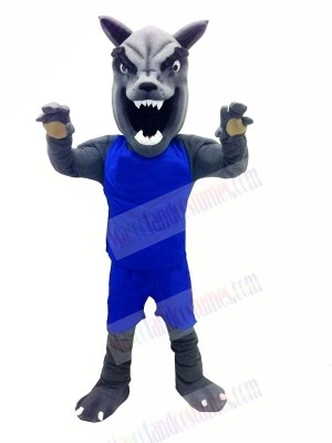 Wolf with Blue Vest Mascot Costumes Cartoon