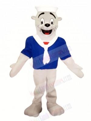 Seal with Blue T-shirt Mascot Costume Cartoon