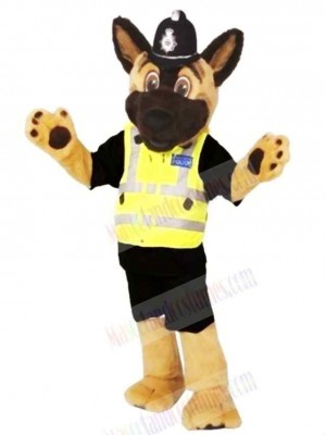 Brown and Black Staffs Police Dog Mascot Costume Cartoon