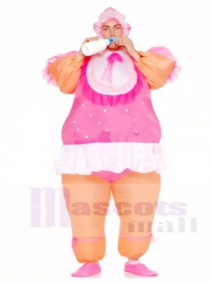 Inflatable Adult Costumes Pink Baby Doll Party Suits
