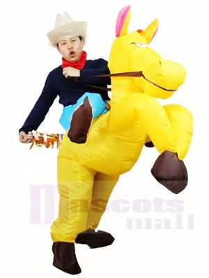 Cowboy Ride On Yellow Horse Inflatable Halloween Christmas Costumes for Adults