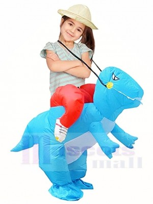 Blue Dinosaur Carry Me Ride On T-Rex Inflatable Halloween Christmas Xmas Costumes for Kids