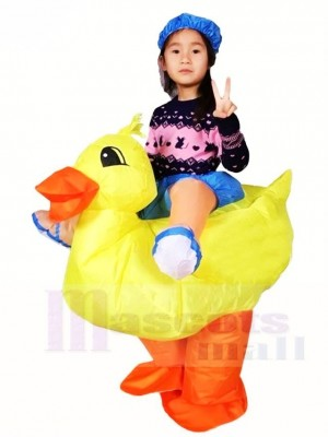 Yellow Duck Carry me Ride on Inflatable Halloween Xmas Costumes for Kids