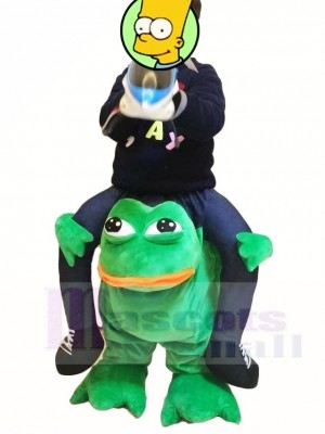 For Children/ Kids Piggyback Carry Me Ride on Crazy Green Frog Mascot Costumes