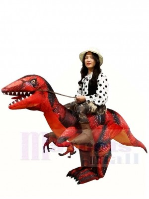 Velociraptor Dinosaur Carry Me Ride On T-Rex Inflatable Halloween Costumes for Adults