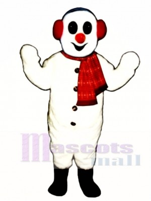 Snowman with Earmuffs & Scarf Mascot Costume