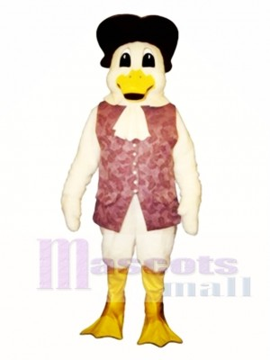 Cute Colonial Duck with Vest & Hat Mascot Costume