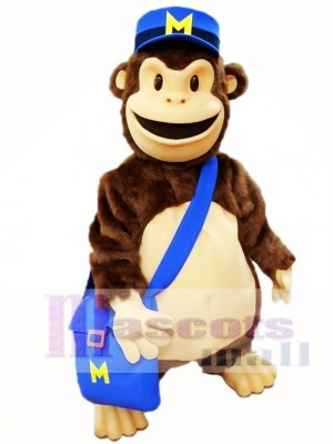Cartoon Chimp with Blue Hat Mascot Costumes Animal