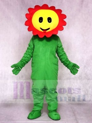 Red Giggling Sun Flower Mascot Costumes Plant