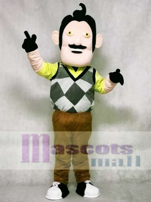 Mr. Peterson with No Eyebrows The Neighbor from Hello Neighbor Man Mascot Costume
