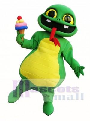 Snake Holding An Ice Cream Mascot Costume Green Snake Mascot Costumes
