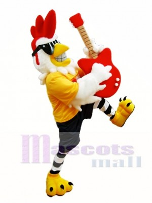 Rooster with Guitar Mascot Costume Rockin Chicken Mascot Costumes