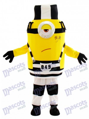 Unhappy Minion in Prison Despicable Me Mascot Costume with Hat Cartoon