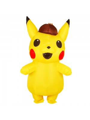 Yellow Pikachu with Hat Inflatable Costume Air Blow up Cosplay Jumpsuit for Adult/Kid