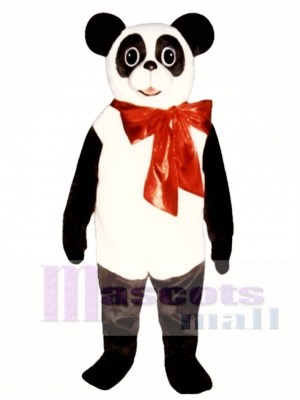 Cute Christmas Panda with Bow Mascot Costume