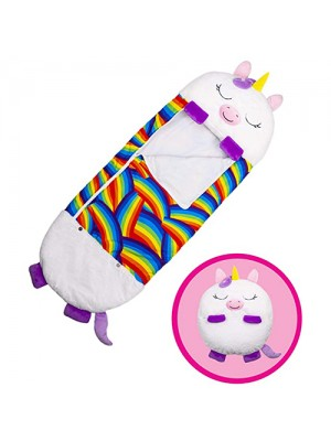 Happy Nappers Pillow & Sleepy Sack 2 in 1 Kids Foldable Sleeping Bag with Pillow Cartoon Animals White Unicorn