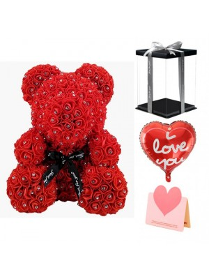 Diamond Red Rose Teddy Bear Flower Bear Best Gift for Mother's Day, Valentine's Day, Anniversary, Weddings and Birthday