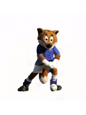 Blue Football Fox Mascot Costumes Cartoon