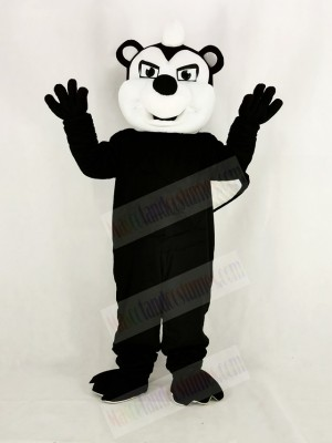 Realistic Black Stinky Skunk Mascot Costume Cartoon
