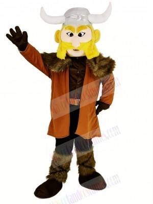 Thor the Giant Viking Mascot Costume with Silver Hemlet
