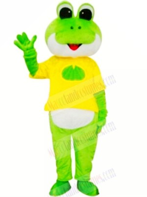 Frog with Yellow T-shirt Mascot Costumes