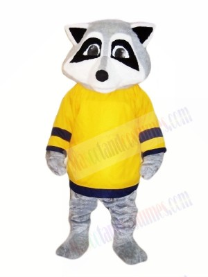 Cute Raccoon with Yellow T-shirt Mascot Costumes Animal