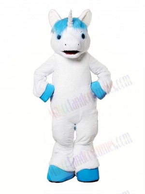 Unicorn With Blue Mane Mascot Costume