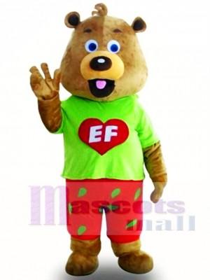Fancy Cute Green Coat Bear Mascot Costume