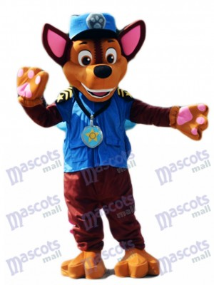 Paw Patrol Chase Dog Mascot German Shepherd Puppy Police and Traffic Cop Dog Costume