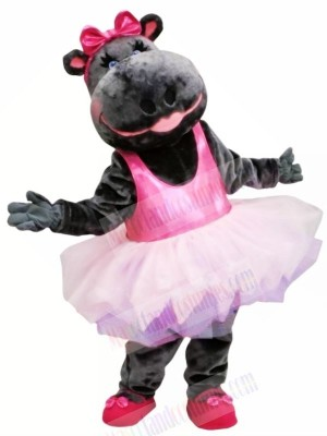 Pink Skirt Ballerina Hippo Mascot Costume Animal