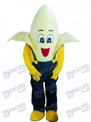 Banana with Overalls Mascot Costume Fruit Food
