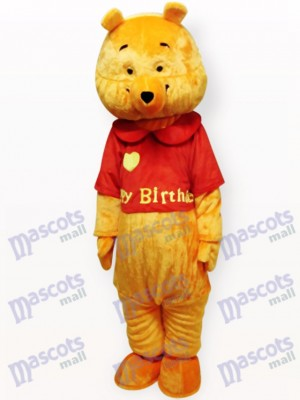 Love Yellow Bear Cartoon Adult Mascot Costume