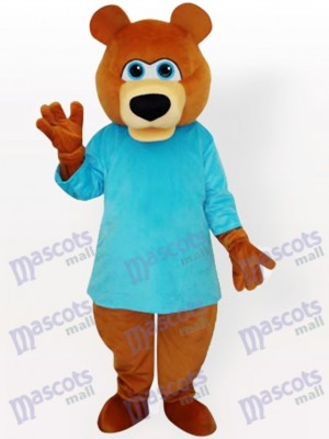 Bear in Blue T-Shirt Cartoon Mascot Funny Costume