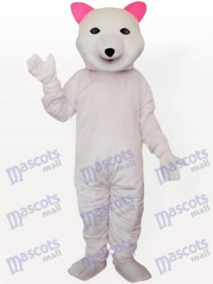 Pink Ear Polar Bear Adult Mascot Costume