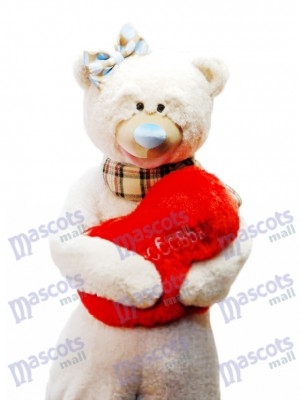 Cute Bear With Bow Mascot Costume Scarf/ Red Heart NOT INCLUDED Animal