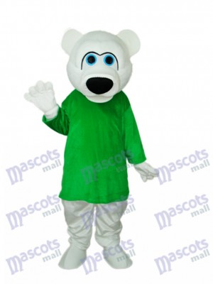 Green Shirt White Bear Mascot Adult Costume Animal