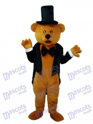 Bear in Black Suit Mascot Adult Costume Animal