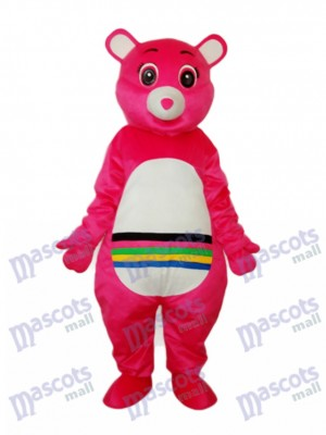 Pink Bear with Colorful Belly Mascot Adult Costume Animal